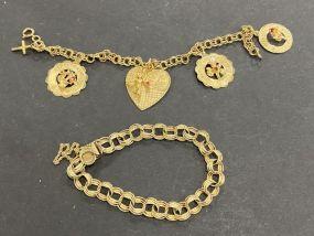 14 Karat Gold Charm Bracelet and 14 Karat Gold Bracelet