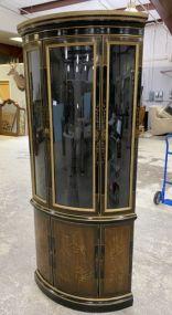 Drexel Heritage Black Lacquer Corner Cabinet