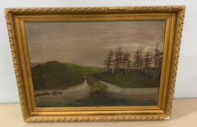 Early Oil Painted of Levee and Dam in Louisiana