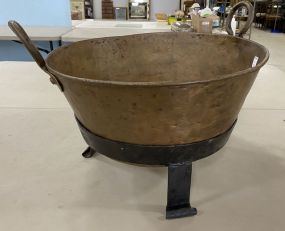Copper Apple Butter Pot with Iron Stand