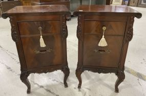 Drexel Pair of Burl Mahogany Night Stand Commodes