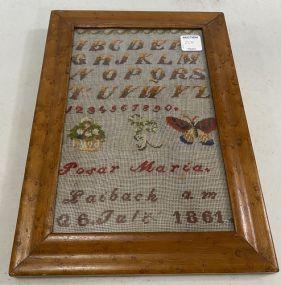 Dated 1861 Alphabet Sampler