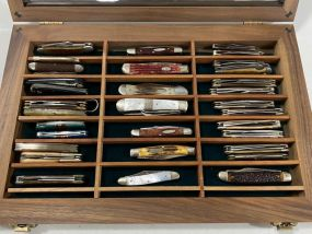 Shadow Box Collection of Case & Other Pocket Knives