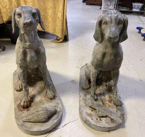 Pair of Large Metal Dog Statues