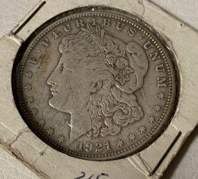 1921 Morgan Silver Dollar S