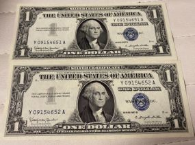 Two 1957B $1 Silver Certificates