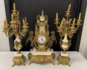 1980's Italian Imperial Clock Set
