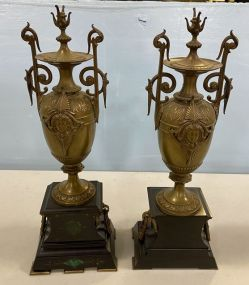 Pair of Brass Neoclassical Style Urns
