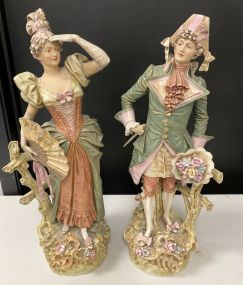 Royal Dux Bohemia Lady and Gent Figurines