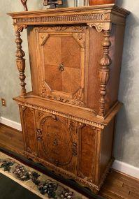 1940's Jacobean Style Oak Cupboard