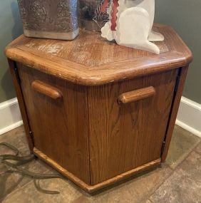 Late 20th Century Oak Octagon Side Table