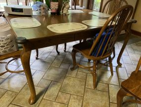 Antique Reproduction Queen Anne Oak Dining Table