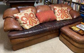 Fine Designs Brown Leather Sofa
