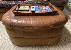 Fine Designs Brown Leather Ottoman