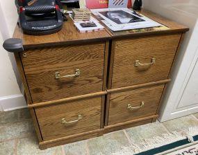 Two Oak File Cabinets