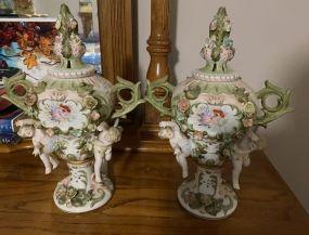 Pair of Dresden Porcelain Urns