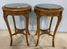 Pair of French Empire Style Round Parlor Side Tables