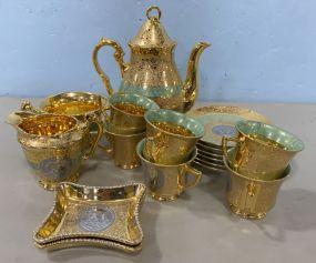 Bohemia 24 Karat Plated Gold Tea Set