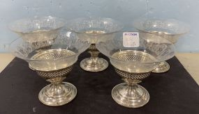 Five Sterling and Glass Dessert Cups