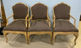 Three French Style Reproduction Arm Chairs