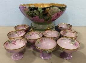 Limoge France Hand Painted Punch Bowl and Cups