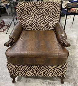 Decorative Cloth and Faux Alligator Skin Chair