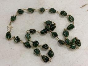 Vintage Presumed To Jade & Gold Wire Necklace