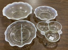 Four Fenton Hobnail Opalescent Glassware