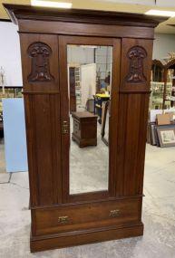 Antique Mahogany Single Door Armoire