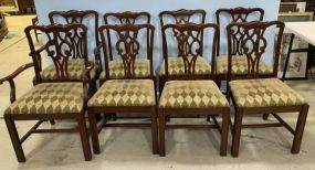 Eight Antique Reproduction Chippendale Style Dining Chairs