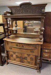 Antique Victorian Oak Sideboard