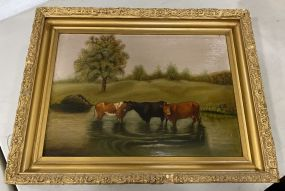 Vintage Oil Painting of Cows