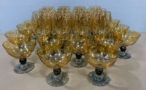 Collection of Art Glass Yellow Stemware