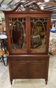 20th Century Cherry French Provincial China Cabinet