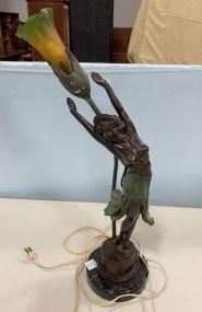 Art Nouveau Golinet Bronze Figural Lamp