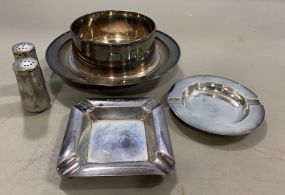 Sterling Dish, Salt & Pepper, and Two Ashtrays