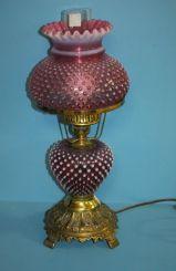 Cranberry Hobnail Lamp