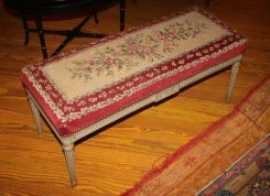 French Louis XVI Painted Bench with original Petite Point