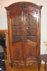 French Carved Walnut Bibleotech or Vitrine with Demi-Glass Doors