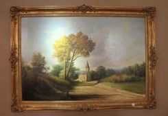 Emmitt Thames Oil Scene with a   Country Church