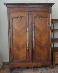 French Armoire with Chevron   Doors