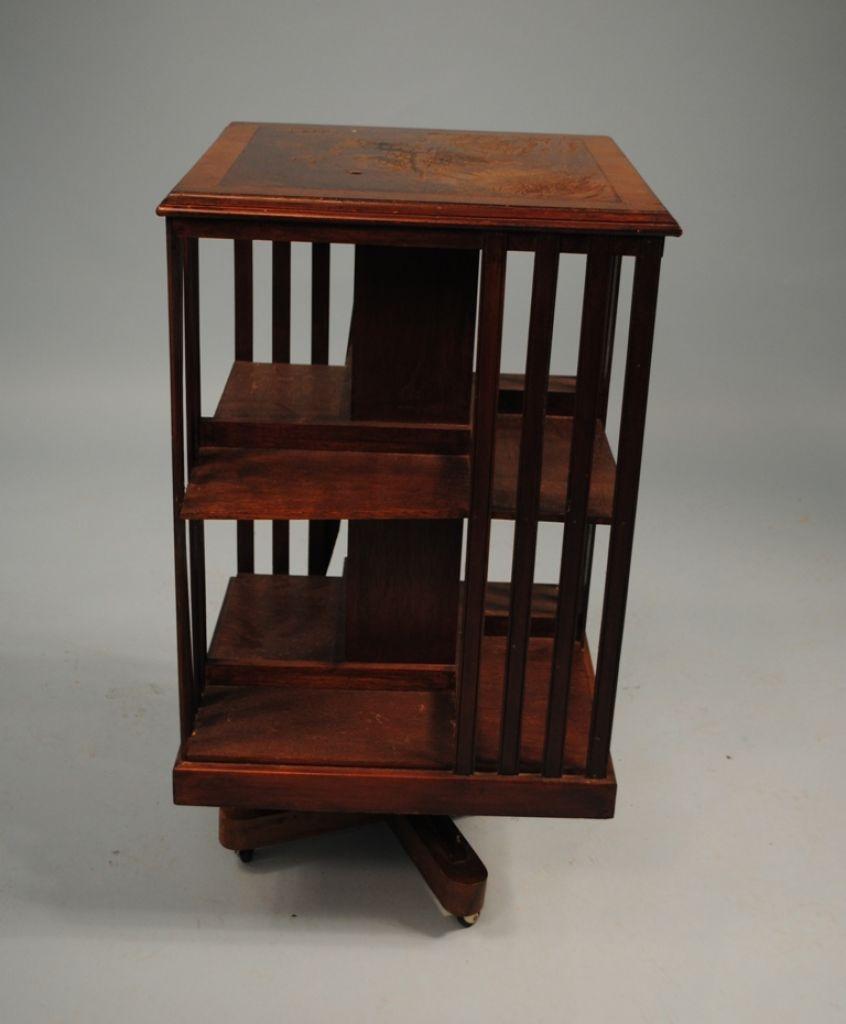 Unusual Quartered Revolving Oak Bookcase