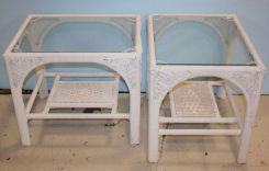 Pair of Wicker Glass Top End Tables