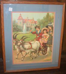 Victorian Children in Goad Wagon Print in Oak Frame