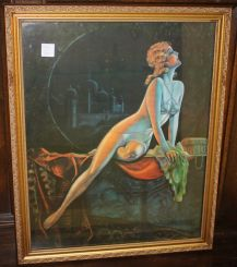 Semi Nude Lady Art Deco Style Print in Gold Frame