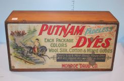 Putnam Dye Advertising Box, Made only by Monroe Drug Company, Quincy, IL.