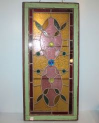 20th Century Stain Glass Window with Beveled Jewels