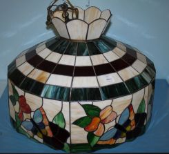 Stain Glass Hanging Fixture, Multicolored with a Fruit Design around the Rim