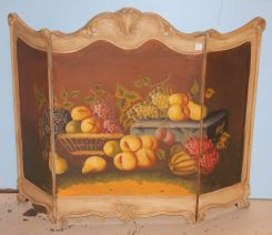 Hand Painted Fireplace Three Section Screen