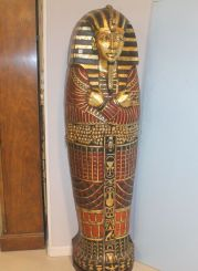 Unusual Wood Carved and Painted Bookcase in the Figure of King Tut
